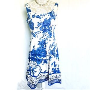 Jones Wear Dress // Blue, White Floral Sun Dress